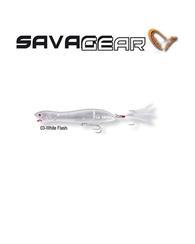 SAVAGE GEAR PANIC PREY V2 105 10,6 CM 14 GR POPPER SAHTE BALIK 01 - DIRTY SILVER MULLET